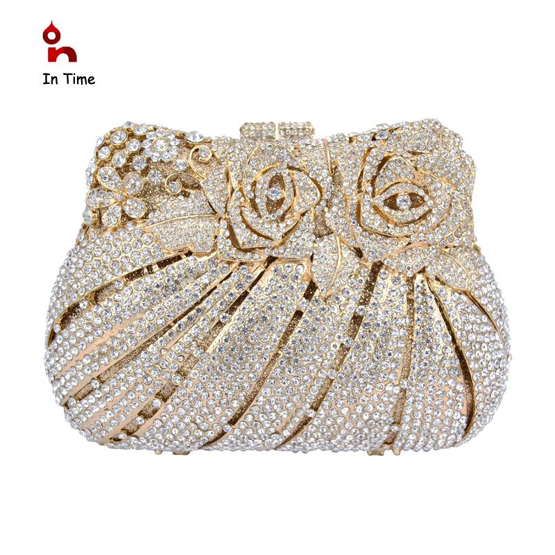 Gold Clutch Evening Bag Rose Crystal Wedding Banquet Clutches Bridal Purse Marriage Handbag La ...