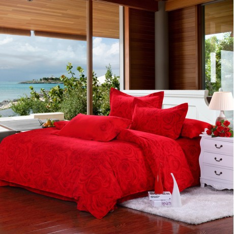 Wedding grade Brushed cotton bedding a family of four blooming roses - red plant flowers minimalist style(China (Mainland))