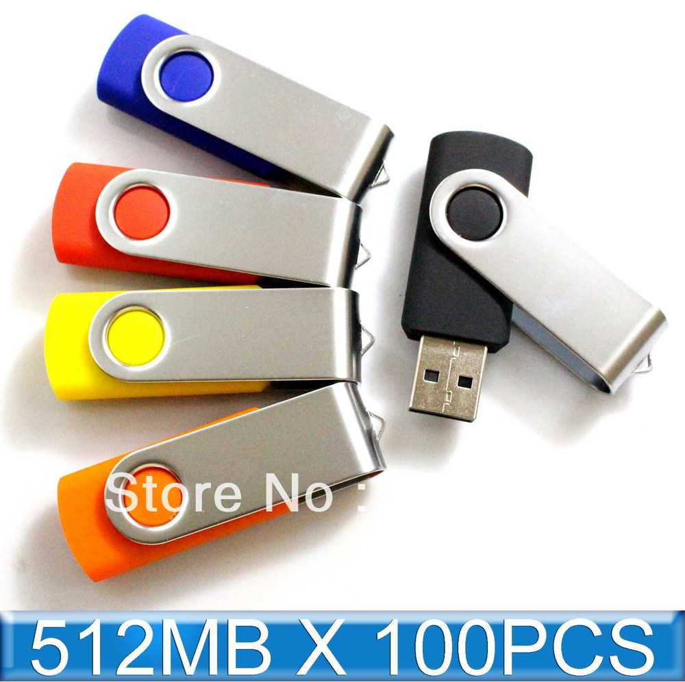 100PCS 512MB USB Drive Wholesales Memory Flash Swivel thumb stick pendrive 2.0 Genuine(China (Mainland))