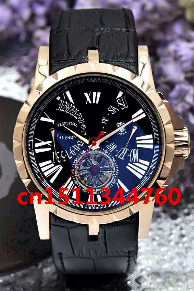 2015 new hot sell Roger -Dubuis Excalibur Tourbillon 42mm LIMITED EDITION Stainless Steel RARE men's watch(China (Mainland))