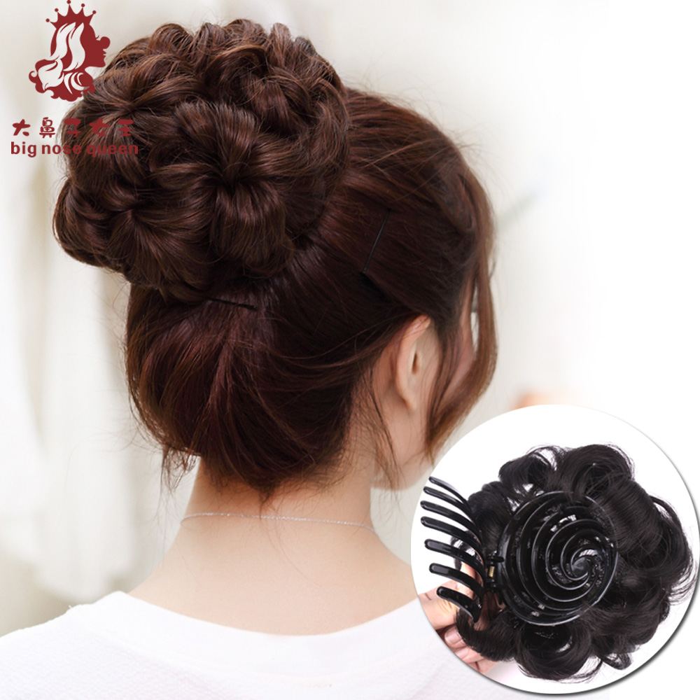 9 Hair Flowers Claw Chignon Accessories Bride Fake Plate Bun Natural Hairpiece Updo Curly Wavy Synthetic Extension Styling Tools(China (Mainland))