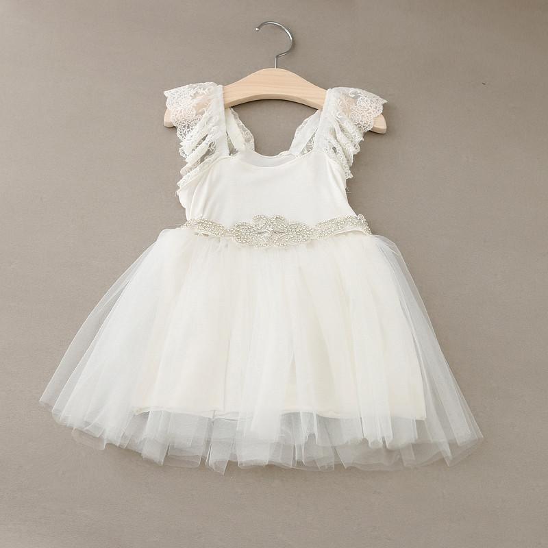 2016 NEWSET!!Baby Girls Tulle Lace wedding Dresses Kids Girl Summer Bowknot Diamond Sash Party Dress Tutu Princess - Miss2010 store