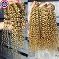 Honey Blonde Peruvian Virgin Hair Jerry Curly 4 Bundles With Closure Blonde Closure With Hair weft Human Hair weave 27# Closure