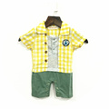 2016 Summer New Design Baby Romper Summer Boy Plaid Contrast Color Fashion Newborn Baby Kids Boys