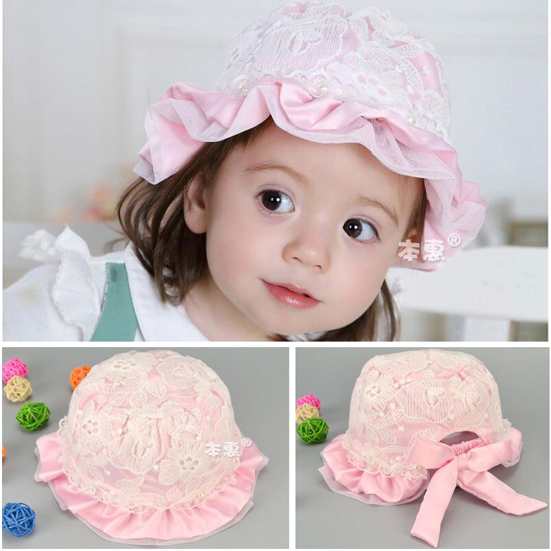 2016 new spring pearl lace princess hats elastic baby hat visor sunhat baby girl newborn caps flower Hat MZ3349 (5pieces/lot)(China (Mainland))