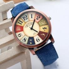 Hot Sale Women Wristwatch 2016 New Style Fashion Casual Watch Unisex Women Men Vintage Demic Fabric Leather Wristwatch Relojes(China (Mainland))
