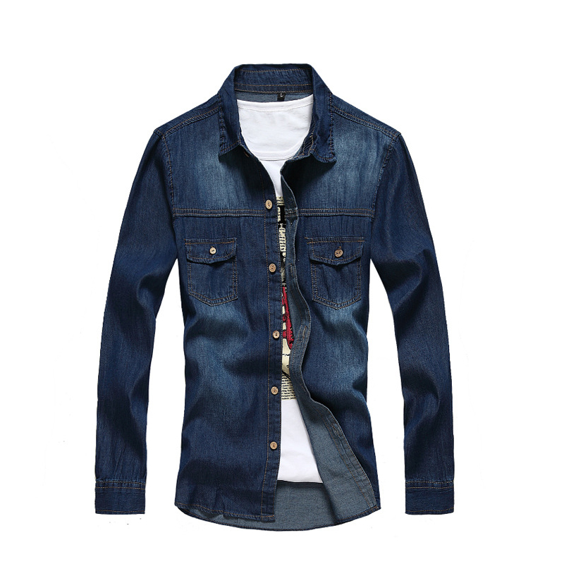 Blue 2015 Autumn Style Denim Shirts Men blouse man spring Famous BRAND Clothing Slim Fit Long Sleeves camisas masculina - Lance David's Professional Apparel & Accessories store