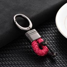 LLavero de cuerda de cuero clásico mujeres hombres llaveros hebilla de herradura tejida a mano para llavero de coche sostenedor de la bolsa colgante regalo de joyería(China)