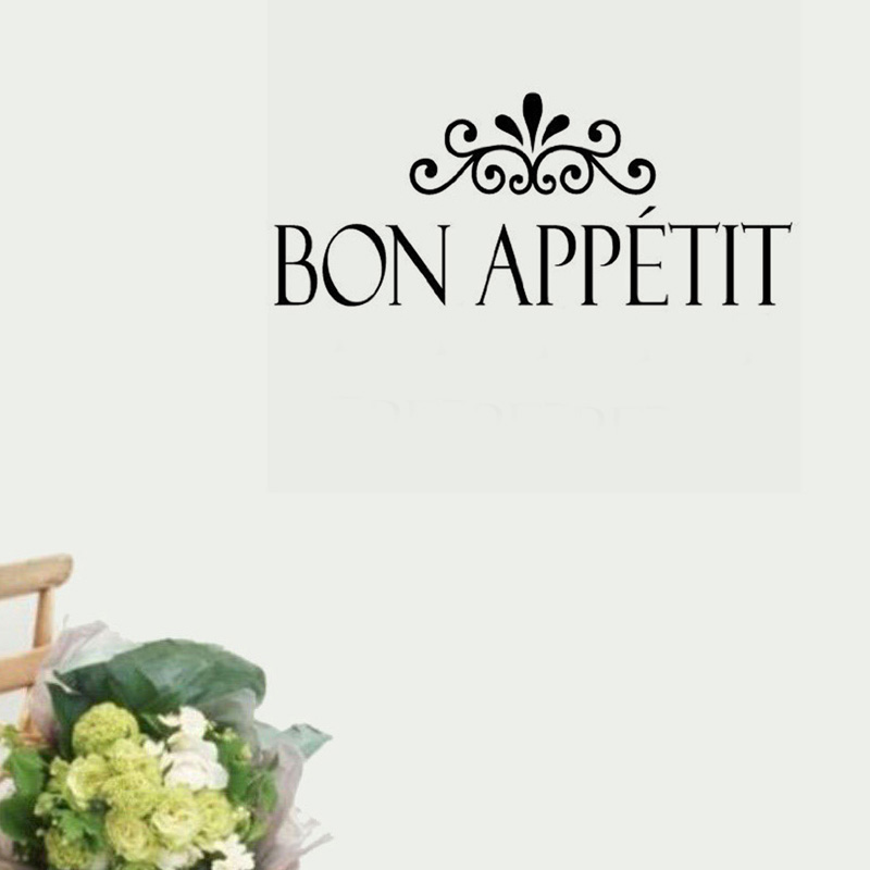 Flower Pattern Bon Appetit Wall Sticker French Language Removable Home Decor Vinyl Wall Decal 59x21cm