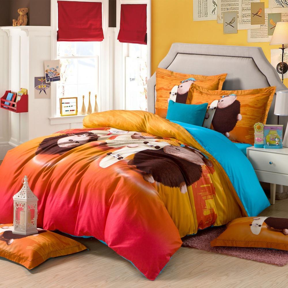 wholesale cotton lovely cartoon cow orange blue queen size bedding set bed in a bag bedroom. Black Bedroom Furniture Sets. Home Design Ideas