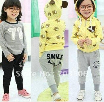 10pcs boys girls smile pants smiling mouse pant children trousers childrens gray black bottoms free shipping