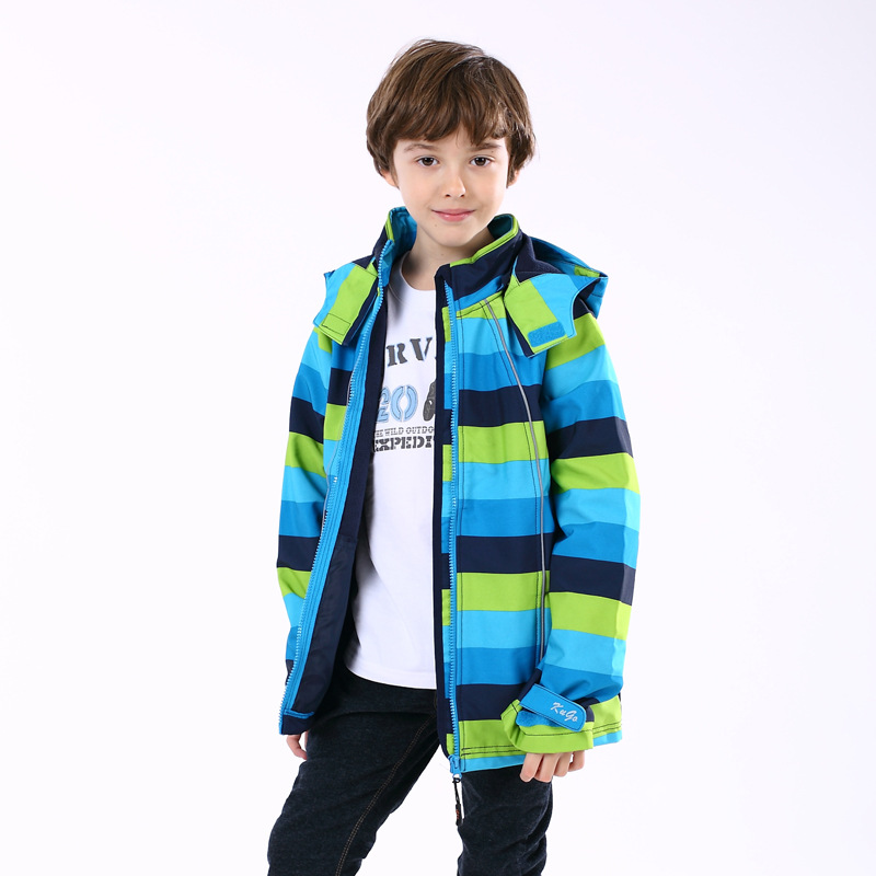 Children's Winter Coat Outdoor Warm Clothing on Sale Blue Stripped Boys Outdoor Jacket Waterproof Ski Jacket for Kids Breathable(China (Mainland))