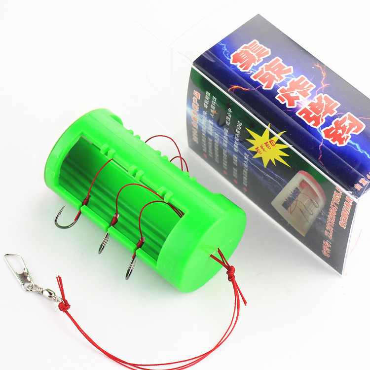 fishing hook cluster bomb proof hanging hook explosion Fishhooks Carbon Steel Plastic Box Bait Holder Fishing