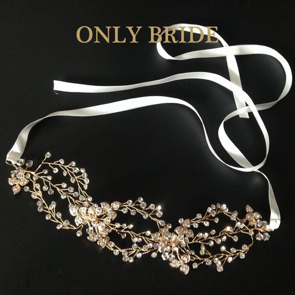 3pcs/lot Gold Crystal Bridal Headpiece Triple Loops Headband <br><br>Aliexpress