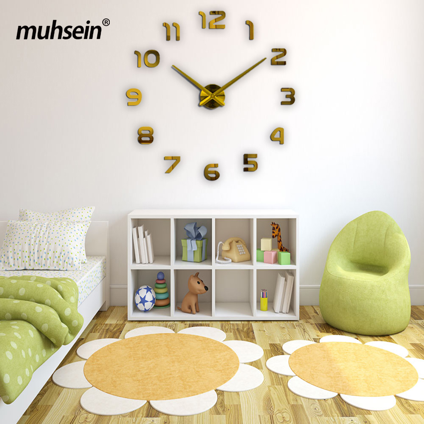 2017 muhsein new Large wall clock personalized big wall clock 3d diy clock Acrylic mirror Stickers Quartz Modern Home Decoration(China (Mainland))