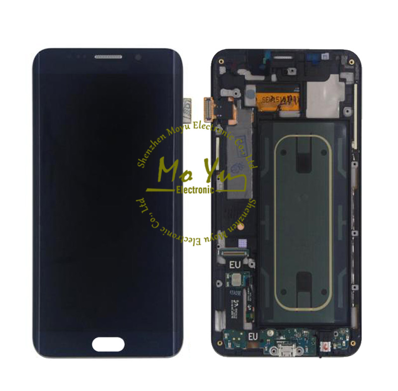 LCD Screen Digitizer Assembly For Samsung Galaxy S6 Edge plus G928 G928V G928F Blue lcd display panels replacement With Frame(China (Mainland))