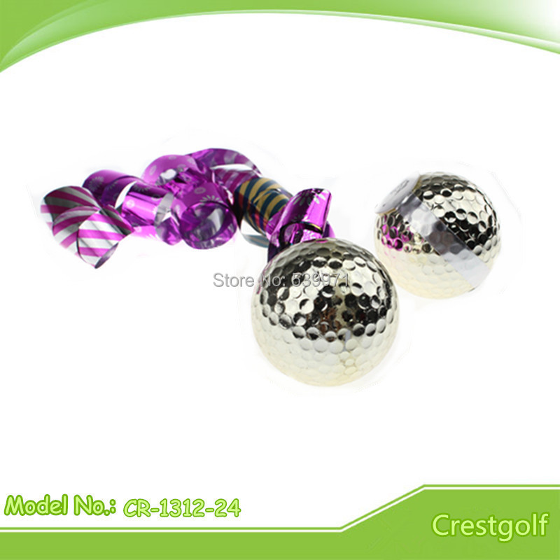 Hot selling 3pcs/set two layer Golden Colorful Ribbon Golf Ball With Free Shipping(China (Mainland))