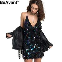 BeAvant Backless luxury slip dress Deep V sequin sundress Sexy party short dress women 2016 autumn winter dress vestido Camisole
