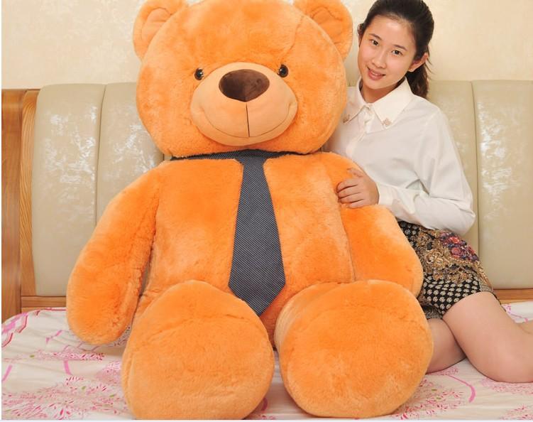 huge lovely teddy bear doll orange-brown teddy bear toy with tie doll hug bear toy birthday gift about 160cm