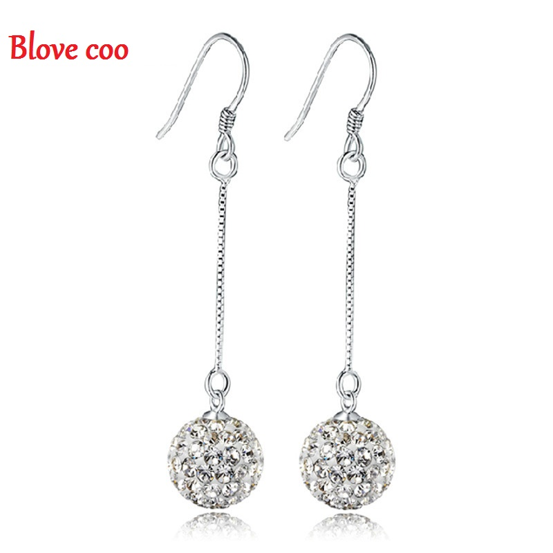 crystal Dangle Earrings Women 2016 New Statement Drop Shambhala Cubic Zirconia Crystal For Fashion Jewelry Wholesale(China (Mainland))