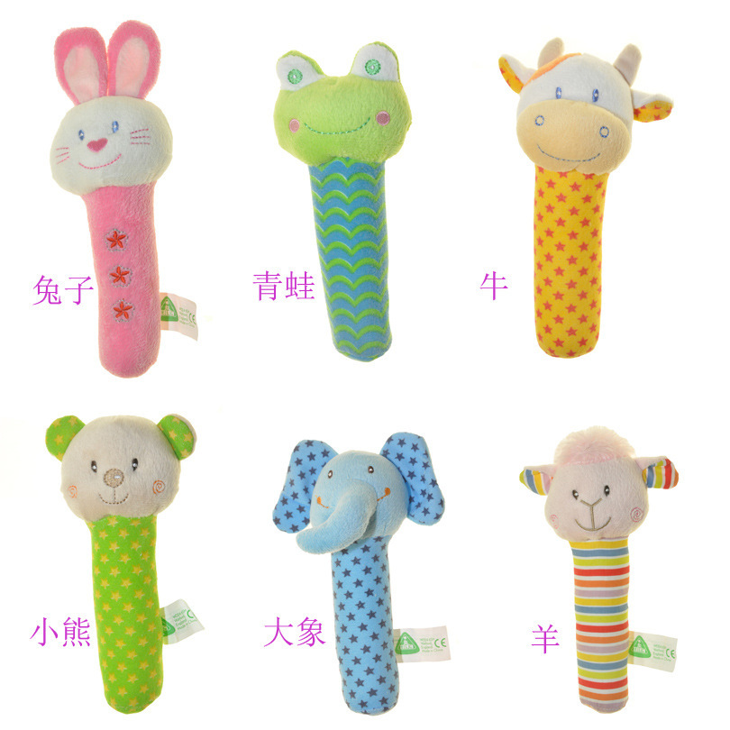2015 newborn elc toys Soft Animal Model Handbells plush Rattles Squeeze Rattle Cute Gift Baby toy 0-12months HT013 - Quan Chubei Fashion Store store