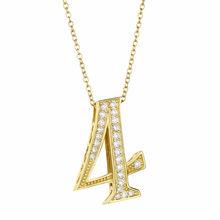 Slovecabin srebrny złoty kolor numer 8 9 wisiorki 925 srebro CZ kryształ numer 7 wisiorek 2018 moda długie męskie naszyjniki(China)