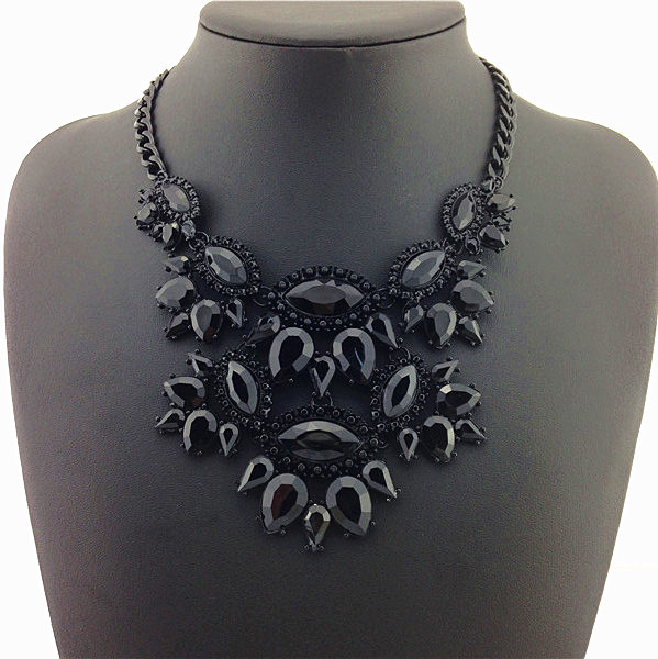 New Unique Necklaces & Pendants Black Thick Clavicle Chain Jewelry Statement Necklaces Ladies Dress Special 2015 Return Value(China (Mainland))