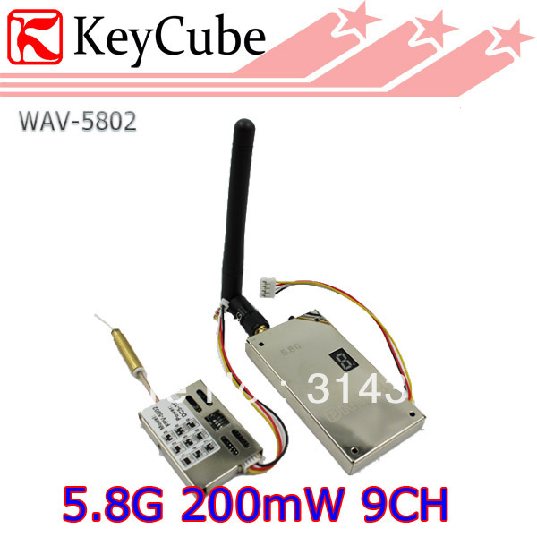 5.8G Wireless Video Audio Transmitter and Receiver 9CH 200mW 400m Range AV Sender for FPV Telemetry System Free Express Shipping(China (Mainland))