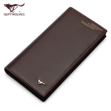 Septwolves wallet male long design genuine leather long wallet male men's first layer of cowhide