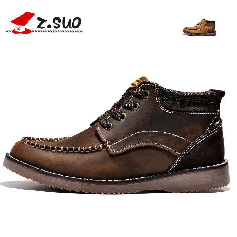 Real Leather Men Work Boots Men's Casual Walking Shoes High-top Flats Brand Designer Stylish High Quality Desert Outdoor Boot(China (Mainland))