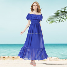 09932 Unique Multi-way Ruched Waist Ruffles Long Summer Dress 2015(China (Mainland))
