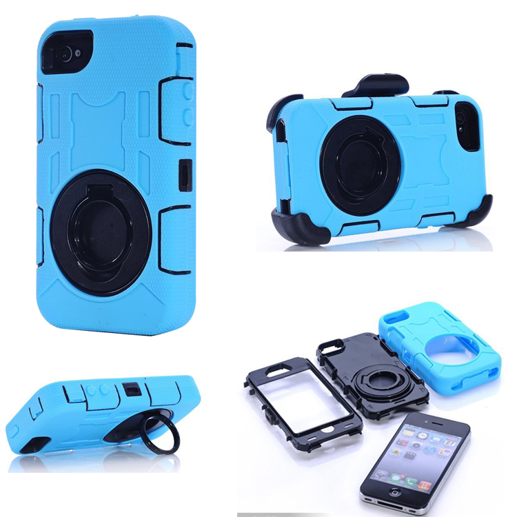 Durable Hybrid Heavy Duty Rugged Military Shockproof Dustproof Waterproof Stand Case Cover iPhone 4G 4S Rotating Ring 12C - UHANS Technology store
