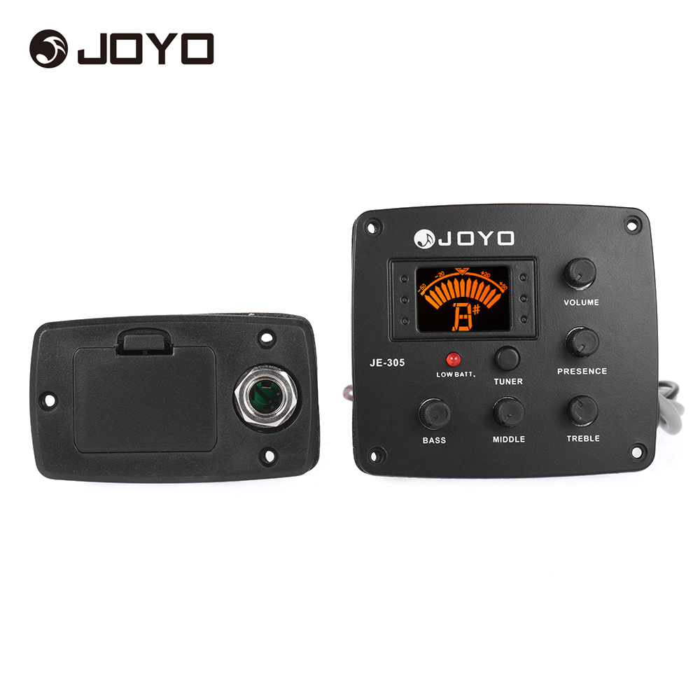 JOYO JE-305 Acoustic Guitar Piezo Pickup Preamp 4-Band EQ Equalizer Tuner System with LCD Display(China (Mainland))