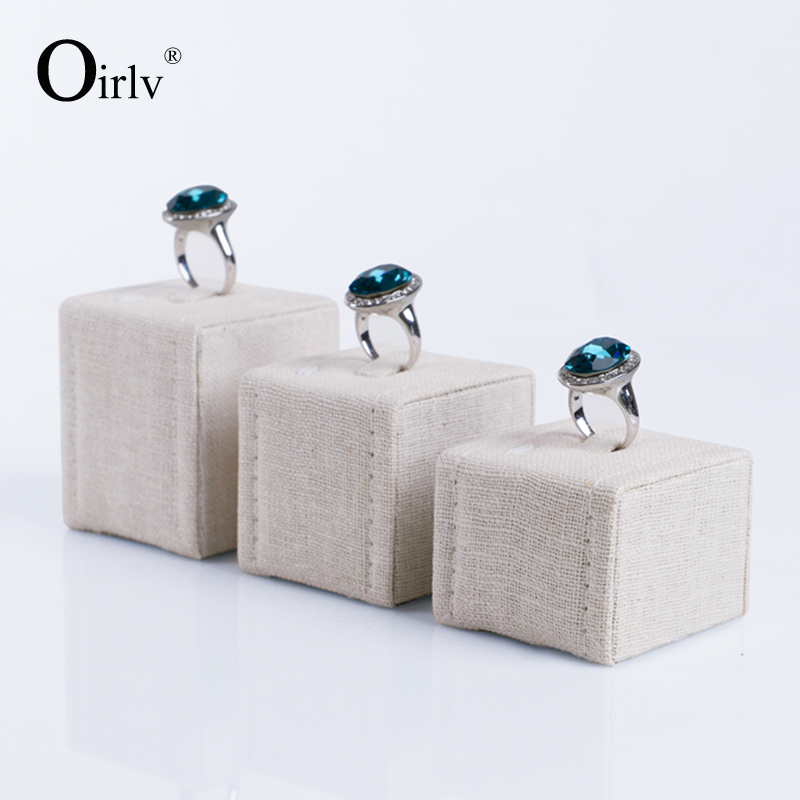 Oirlv free shipping custom wood jewellery show and exhibitions display beige linen ring exhibitor props(China (Mainland))