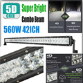 560W 42Inch 5D Cree Chip Lens Reflector Spot Flood Beam SUV ATV Offroad Boat Car Lamp