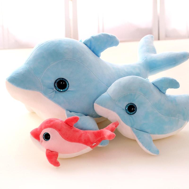 1 piece size 25 cm Cartoon 3d eyes dolphin plush toy baby child pillow cushion doll valentine day christmas birthday present(China (Mainland))