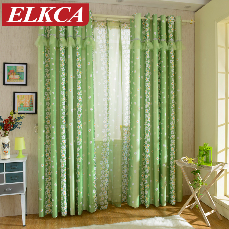 buy rustic pastoral floral green curtains