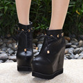 New Sexy Strap Black High Heeled Platform Buckle Ankle Boots 15CM Womens Wedge Heel Shoes