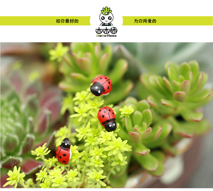 Ladybird wooden home accessories decorative gardening Insect crafts Micro landscape ornaments 10pcs(China (Mainland))