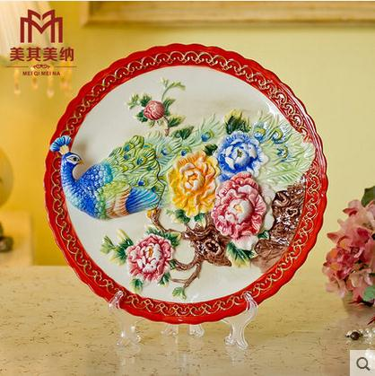 Peacock Wedding gifts decorative wall dishes porcelain decorative plates vintage home decro crafts room decoration(China (Mainland))