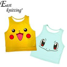 EAST KNITTING F572 Women's Squirtle Pikachu AA style Bustier Crop Top Sexy Sport Camisole 3D Bulbasaur Pokemon cartoon Tank Top(China (Mainland))