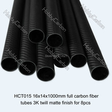 100% углеродное волокно трубы / трубки / прокладки HCT015 8 шт. / pack 16 X 14 X 1000 мм