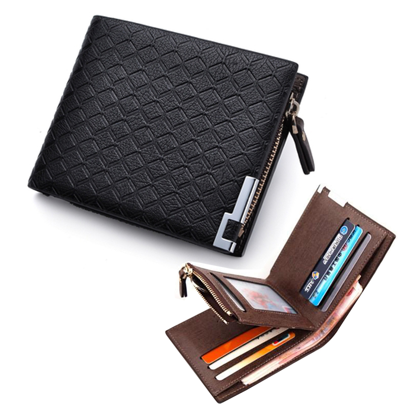 Multifunction Man Wallets 3 Colors Mens PU Leather Zipper Business Wallet Card Holder Pocket Purse Hot Plaid Pounch Fashion  -  Top One Store store