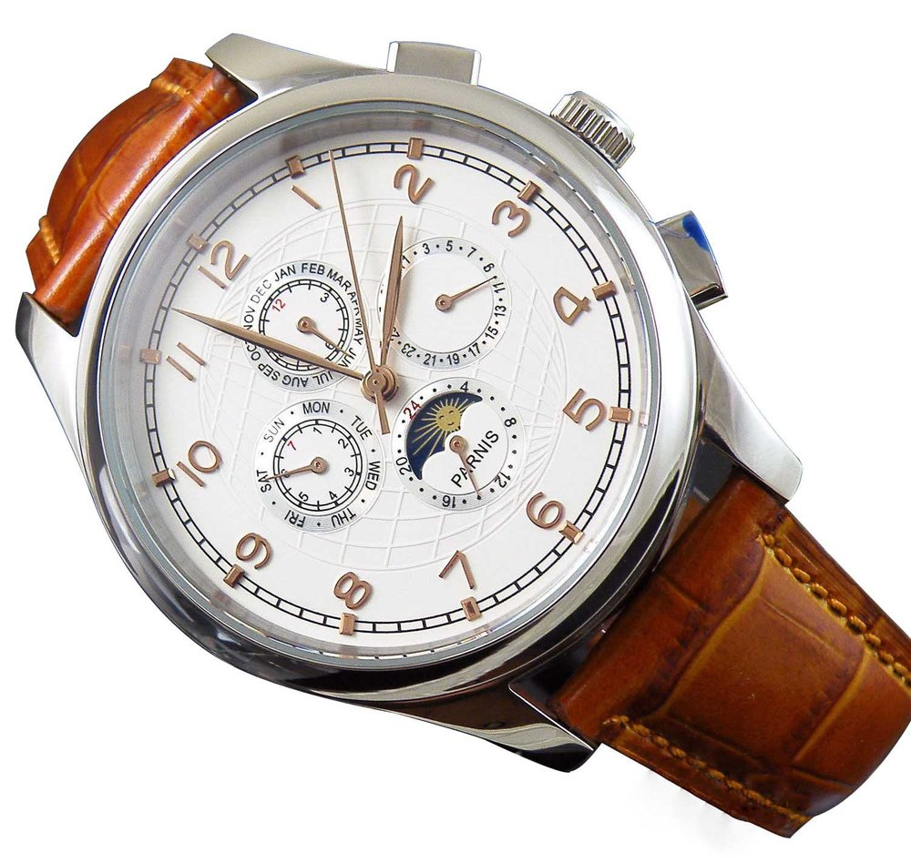 Parnis White Dial Gold-plated Mark Automaitc Chronometer Moon Phase Multi-funtion Men's Women's Watches - parnis store