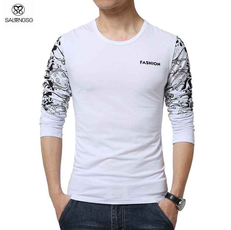 Luxury Brand T Shirt Men Basic Top Long Sleeve Floral