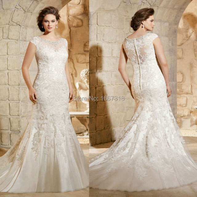 Turmec » lace wedding dress with cap sleeves and long train