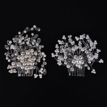 Hot Sale Charm Women Bride Crystal Pearl Rhinestone Bridal Wedding Hair Comb Hair Pins Accessories 2 Styles 1Pcs(China (Mainland))