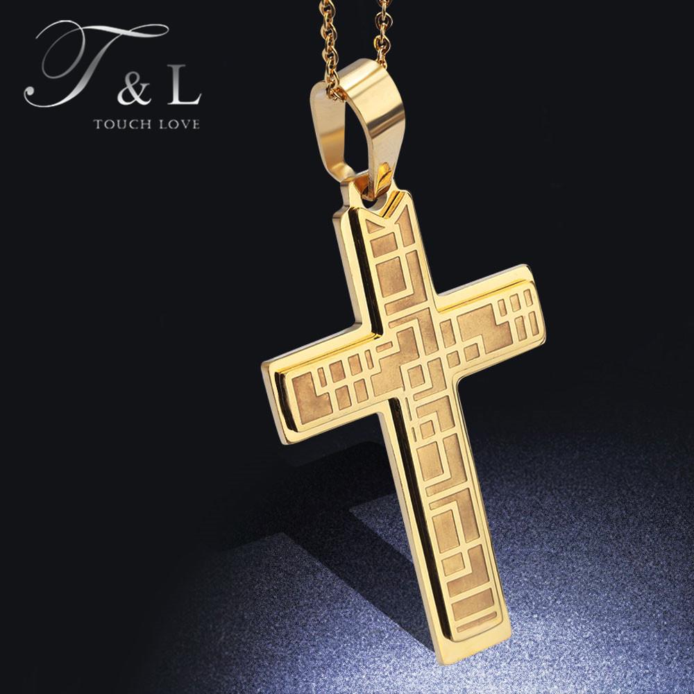 T&L Big Chunky Cross Pendants Necklaces Titanium Gold/Silver Enamel Men Necklace Retro Movie Fast Furious Punk Necklace(China (Mainland))