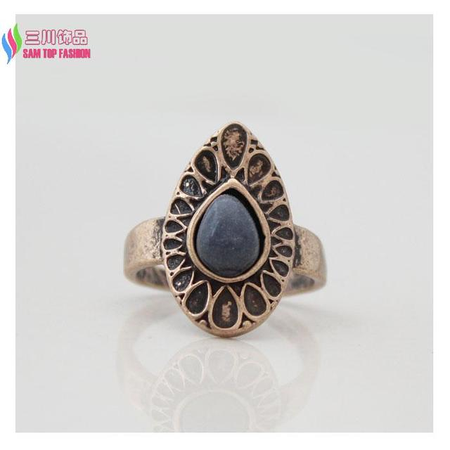 Designer Antique Alloy Nature Blue Stone 5pcs Midi finger Vintage Ring Sets for Women