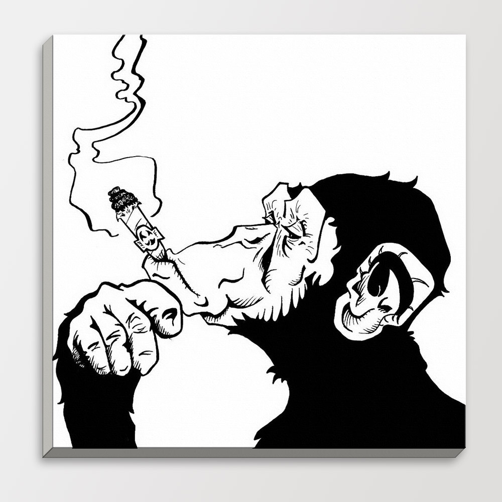 Drawings smoking gorilla chimpanzee black white fashion for White wall decor